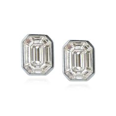 Baguette Border Earrings Puzzle Jewelry Emerald Stud Diamond Studs High