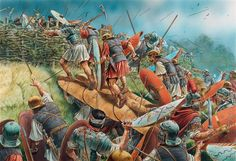Roman troops try to break out of the trap theyve been lured into by Arminius and his Cherusci tribe in the Teutoburg Forest AD 9 - art by Peter Dennis