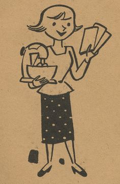 A charming 1950s illustration from a Stamp Saver book. <- Look at the arm strength on that woman!