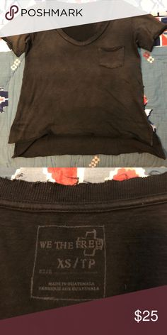 Free People we the free v neck slub tee Comfortable and effortless black distressed tee by Free People. Excellent condition Free People Tops Tees - Short Sleeve