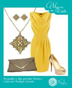 Brilla con actitud y con nuestro #conceptoxiuh en dorado. Dije y broqueles grandes Mosaico Macizo, Colección Mudejar