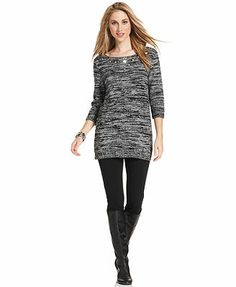 Style&co. Petite Sweater, Three-Quarter-Sleeve Metallic Beaded Tunic