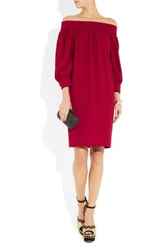 Raspberry crepe Gathering from neck, elasticated back panel, turned-up button-fastening cuffs, two side slit pockets, fully lined Concealed hook and zip fastening at back 61% viscose, 39% acetate; lining: 96% silk, 4% elastane  Dry clean