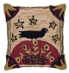 Primitive Country Flowers and Folk Crow Hooked Pillow Cover, 18x18 Inch, 369-52 #ParkDesigns #Country