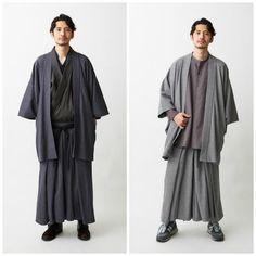 New Japanese Haori Coats And Pants For The Modern Samurai Look Kimono, Male Kimono, Kimono Outfit, Kimono Fashion, Fashion Outfits, Fashion Trends, Fashion Coat, Kimono Style, Fashion Models
