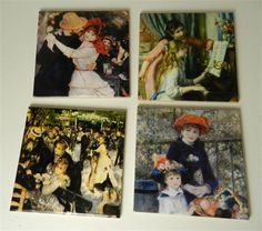 Ceramic sublimated drink coasters that have 4 assorted images of Renoir the famous French impressionists paintings.  The images have been applied to the ceramic white tiles with sublimation dyes. The images are permeated into the ceramic and become part of the tile and are permanent.  The images will not fade, peel or chip off. You do not have to worry about cold drinks sweating or hot coffee.  The backs of the coasters have cork to protect your furniture.  The coasters are sleek and the…