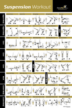 Awesome Suspension exercise poster for TRX workouts! I've never seen so many TRX exercises all in one place. And the graphic shows the muscles engaged during the exercise!