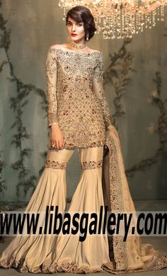 Native Latest Indian Pakistani Gharara Bridal Dresses, Indian Pakistani Gharara Wedding wear Detroit Michigan USA Pakistani Formal Dresses, Pakistani Party Wear, Pakistani Outfits, Indian Dresses, Indian Outfits, Indian Fashion Online, Desi Clothes, Indian Designer Wear, Traditional Dresses