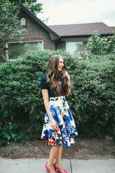 women fashion skirt-water colored pattern paired with a graphic tee