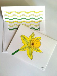 Daffodil Note Card with coordinating Wave by IdAndEgoCreations, $2.75