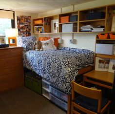 Dorm organization - can you even put stuff up like this in the rooms? I love the organization under the bed, and the trunk