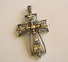 Vintage Aurora Borealis Cross Pendant