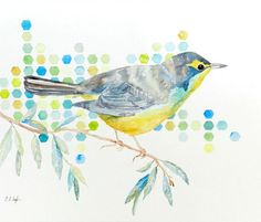 Watercolor Bird on a Branch Original by GrowCreativeShop on Etsy