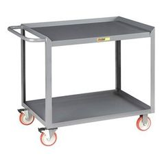 Mobile Service Bench, 42 In. L, 35 In. H by Little Giant. $305.50. Mobile Service Bench, Load Capacity 1200 lb., Overall Length 42 In., Overall Width 24 In., Overall Height 35 In., Number of Shelves 2, Caster Dia. 5 In., Caster Type (2) Rigid, (2) Swivel with Total Lock Brakes, Caster Material Polyurethane, Material Steel, Gauge 12, 14 ga., Color Gray, Powder Coat Finish