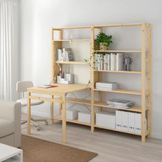 """IVAR 2 section unit with foldable table, pine, 68 7/8x11 3/4-41x70 1/2"""" - IKEA Cube Storage, Storage Shelves, Storage Spaces, Shelving Units, Storage Organizers, Garage Shelving, Painted Table Tops, Catalogue Ikea, Billy Ikea"""