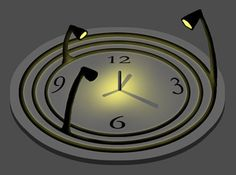 """The Bulbdial Clock has no hands — just one pole in the center of the clock, and three light sources of varying heights which revolve around the pole casting shadows. In the model illustrated above, the light sources are each attached to a ring which rotates around the pole. The innermost ring rotates once per minute, casting a """"second hand"""" shadow."""