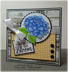 """airbornewife's stamping spot: TupeloDesignsLLC DT Project ~ MOJO467 """"live life in full Bloom"""" card featuring Altenew Dahlia Blossoms stamps/dies"""