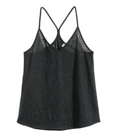 V-neck camisole top in slub linen jersey with narrow shoulder straps and a racer back.