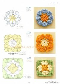 Crochet Knitting Handicraft: patterns of fragments with the schemes.