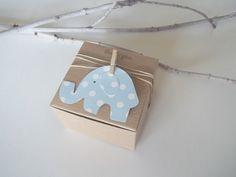 25 Baby Shower favor box baby blue polka dot elephant 3x3x2 box Eco friendly pink polka dot gray polka dot elephant. $40.99, via Etsy.