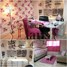 home nail salon decorating and set up ideas | nail technician room decor | nail station ideas | nail room