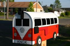 vw mailbox | Fire Orange Volkswagen Bus Mailbox by TheBusBox Custom made VW ...