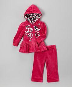 Pink 'Love' Zip-Up Hoodie & Sweatpants - Infant, Toddler & Girls #zulily #zulilyfinds