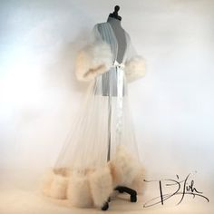 "Image of Ivory ""Rita"" Marabou Dressing Gown (Available now!)"