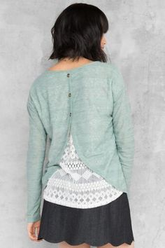 Riggens Lace Back Top