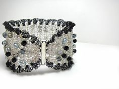 Silver Wire Crochet Cuff Bracelet Ruffle Wide Bracelet Wire Mesh Pearl Crystal Beaded Original Jewelry