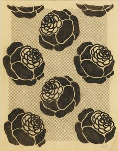 GONTCHAROVA NATALIA. Pattern design. Peony Flowers in Katagami Style. Stencil, Indian ink and brush on tracing-paper, 59,3х46.