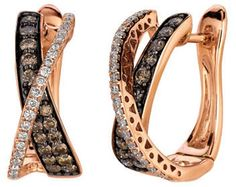 LeVian 0.98 ct tw Chocolate Diamond Hoop Earrings in 14 Kt Strawberry Gold on shopstyle.com