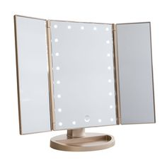 Get your makeup just right with this Touch Trifold Dimmable LED Makeup Mirror from Impressions Vanity by your side. This makeup mirror folds open to. Ikea Makeup Vanity, Led Makeup Mirror, Lighted Vanity Mirror, Makeup Mirror With Lights, Vanity Mirrors, Makeup Light, Vanity Tables, Makeup Desk, Vanity Area