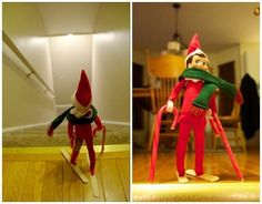 I will definitely have to do this one!  Downhill Skiing | 33 Genius Elf On The Shelf Ideas