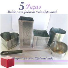 Combo 5 Peças - Médias P/ Fabricar Velas Artesanais + Brinde Handmade Candles, How To Make, Lima, Christmas, Molde, Candle Making, Baby Health, Jars, Colouring In
