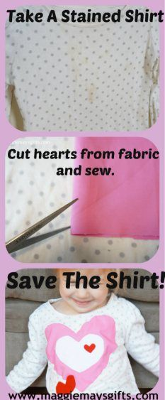 Don't throw out a stained shirt! Sew fabric over the stain and make it new again.