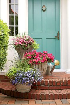 Romantic Stair Step Pots - Front Door Container Gardens That Will Impress Guests - Southernliving. Dress up your stairs and walkway with potted plants and flowers. Here, a trio of colorful containers are filled with 'Caliente Pink' geraniums, 'Surfinia Rose Veined' petunias, and 'Techno Heat Light Blue' lobelias, set against a bright turquoise door for the ultimate welcome.