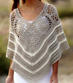 Sweet Martine Poncho with Squares and Lace [Free Crochet Pattern] ONLY FREE crocheting patterns for Amigurumi, Toys, Afghans, Baby Blankets, New Stitches and Tutorials and many more! #crochet #freepattern #poncho