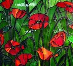 I love poppies. I love stained glass. I love this stained glass of poppies. Mosaic Flowers, Stained Glass Flowers, Stained Glass Designs, Stained Glass Panels, Stained Glass Projects, Stained Glass Patterns, Leaded Glass, Stained Glass Art, Art Of Glass