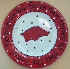 Arkansas Razorback Plate No Place Like Home by melaniehewins, $37.50