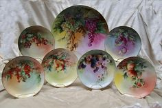 """Antique Hutschenreuther Selb Bavaria Large Charger (~14.5"""") & Plate Set (~8.25"""") """"Amazingly Beautiful Fruit Still Life's"""" Hand Painted, Sign..."""