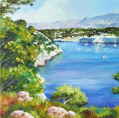 Port Miou, Triptych 1 - Provence Landscape paintings