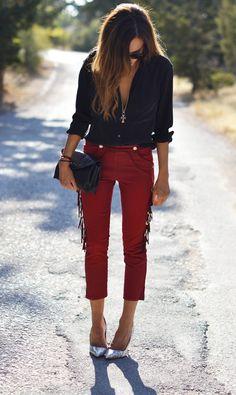 Isabel Marant jeans + Equipment blouse via StyleHeroine