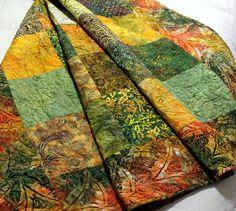 Patchwork in Batik LEMONGRASS Lap Quilt 57 x 75 by QuiltLover, $245.00