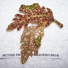 Kenneth Jay Lane KJL J Leaf Pin Brooch Rhinestones CZs Crystals Fall New | eBay