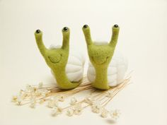 Wedding Cake Topper  Needle Felted Snails by felttess on Etsy, $89.00