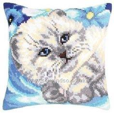 Buy Cute Kitten Cushion Front Chunky Cross Stitch Kit Online at www.sewandso.co.uk