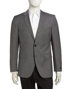 James+Micro-Check+Sport+Coat,+Open+Gray+by+Hugo+Boss+at+Neiman+Marcus+Last+Call.