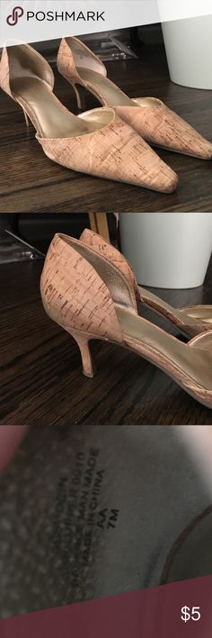 Tan heels Tan pointed toe heels about 2 inches. Worn Shoes Heels