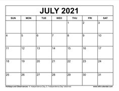 Wiki Calendar July 2021 July Calendar, Independence Day, Free Printables, Templates, Diwali, Stencils, Free Printable, 4th Of July Nails, Vorlage
